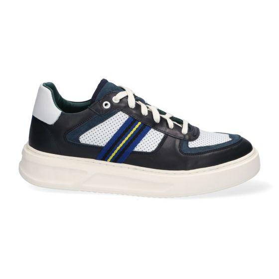 Sneakers - Wit|Blauw - Leer - Lage sneakers voor heren