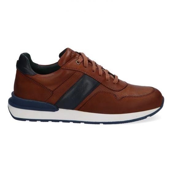 Bruine herensneakers met donkerblauwe accenten