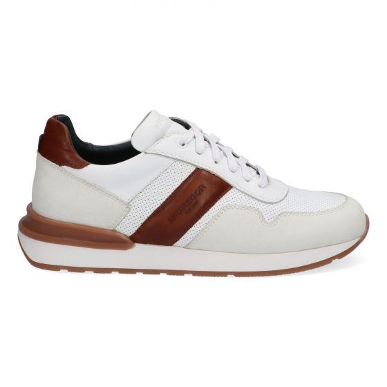 Witte herensneakers met bruine accenten
