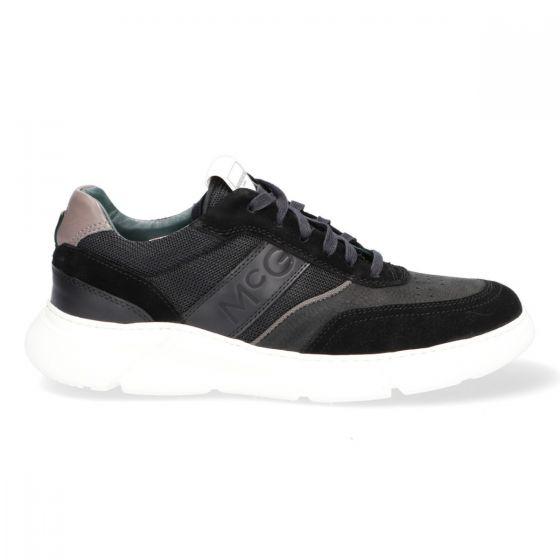 Zwarte herensneakers met hoge rubberzool