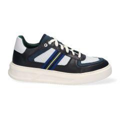 Sneakers - Wit Blauw - Leer - Lage sneakers voor heren